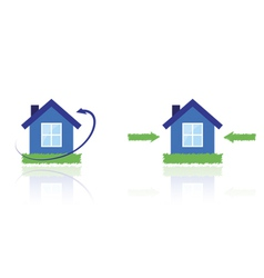 House with lawn and arrows vector