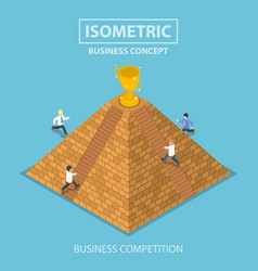 isometric businessman trying to get winner trophy vector image