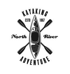 kayak and two crossed paddles black emblem vector image