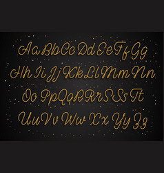 latin gold alphabet the script effect is golden vector image
