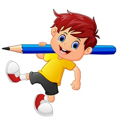 little boy holding pencil vector image