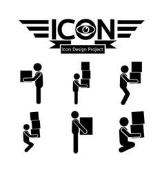 man moving box icon vector image