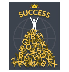 Man on top of Alphabets with Success vector image