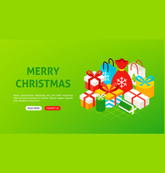 merry christmas presents banner vector image