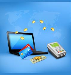 Money transfer realistic composition vector