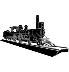 monochrome of old steam train vector image vector image