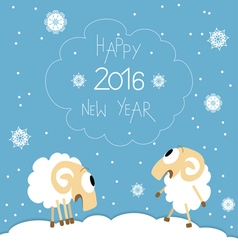 New Year card with cute funny screaming sheep vector image