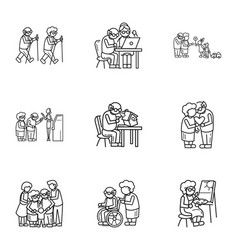 older person lifestyle icon set outline style vector image