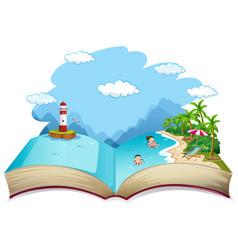 Open book summer beach holiday theme vector