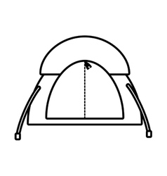 outline dome tent hiking forest camping vector image