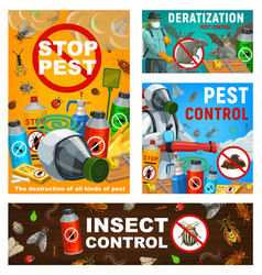 Pest control posters disinsection service vector