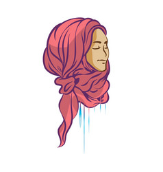 picture of beautiful girl in hijab vector image