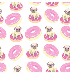 Pink seamless pattern with funny french bulldog vector