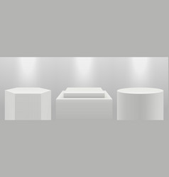realistic podiums 3d pedestal in light blank vector image