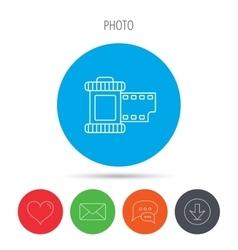 Retro photo icon Camera roll sign vector image