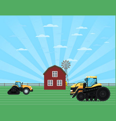 rural agribusiness concept with tractor vector image