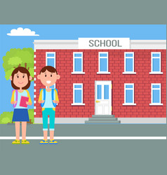 school and children with bags vector image