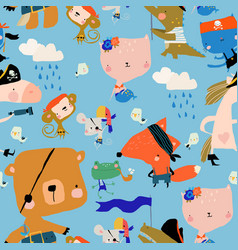 seamless pattern with cartoon animals celebrating vector image