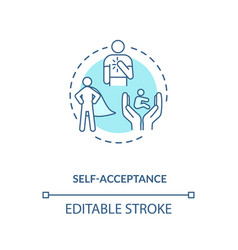 Self acceptance turquoise concept icon vector