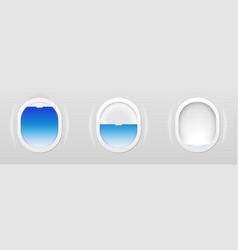 set of aircraft windows plane portholes isolated vector image