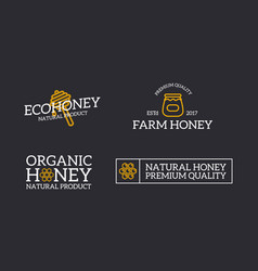 Set of retro vintage honey and bee honeycomb vector