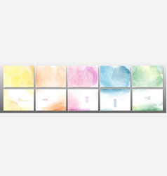 Set pastel color watercolor background vector