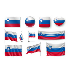 set slovenia flags banners banners symbols vector image