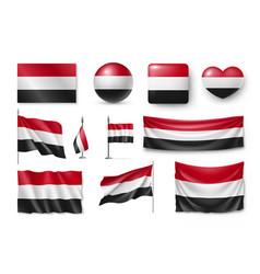 set yemen flags banners banners symbols flat vector image