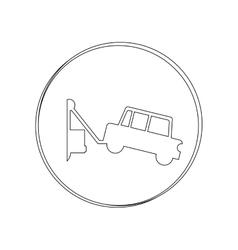 silhouette circular contour tow truck vector image
