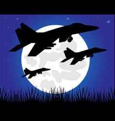 Siuet warplane in night vector