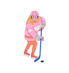 Smiling girl playing ice hockey game vector