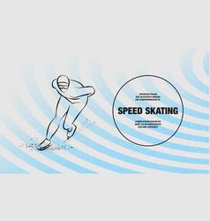 Speed skater outline winter sport vector