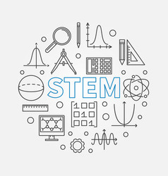 Stem round modern in outline vector