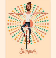summer poster with young man on a bicycle vector image