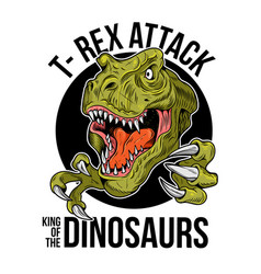 T-rex tyrannosaurus rex big dangerous head vector