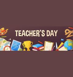teachers day background cartoon template for vector image