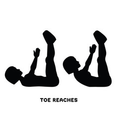 Toe reaches crunches sport exersice silhouettes vector