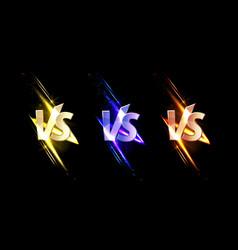 versus vs signs with glow sparks combat symbols vector image