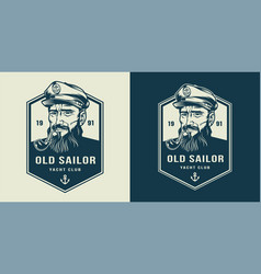 Vintage monochrome marine label vector