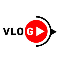 Vlog active logo flat style vector