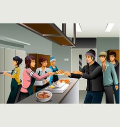 volunteers serving food to homeless people vector image