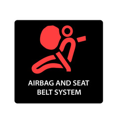 Warning dashboard car icon airbag and seat belt vector
