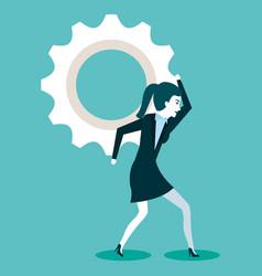 Woman business gears process work vector