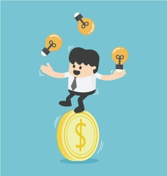 businessman juggling with light bulbs on a dollar vector image vector image