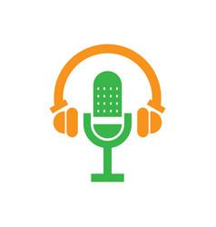 colored music headphones microfone vector image