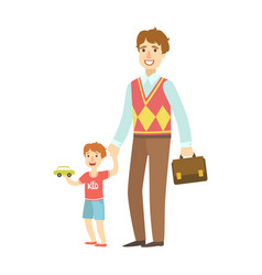 father holding small boy by the hand vector image
