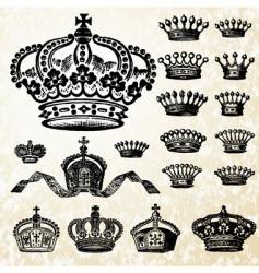 victorian crown set vector image vector image