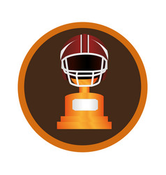 circular frame with american football helmet and vector image
