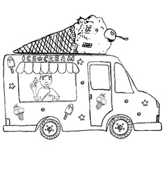 Hand drawn sketch Ice Cream Truck with yang man vector image