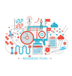 modern flat thin line design business project plan vector image
